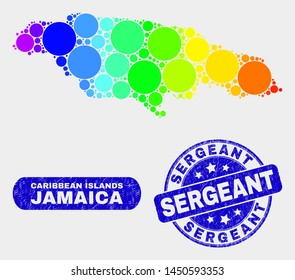 Spectral dot Jamaica map and rubber prints. Blue round Sergeant scratched seal. Gradiented spectral Jamaica map mosaic of scattered round dots. Sergeant seal stamp with distress texture.