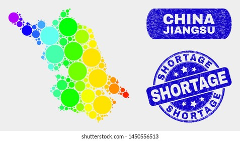 Spectral dotted Jiangsu Province map and rubber prints. Blue round Shortage distress seal. Gradiented spectral Jiangsu Province map mosaic of scattered circle dots.