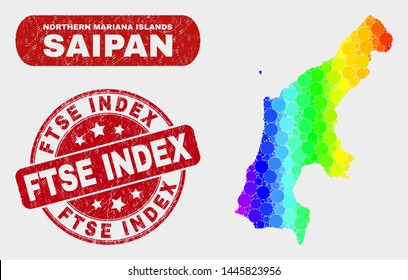 Spectral dotted Saipan Island map and watermarks. Red rounded Ftse Index scratched seal. Gradient spectrum Saipan Island map mosaic of random circle elements.