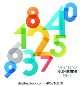 Spectral numbers abstract colorful futuristic shapes - Arabic numerals (0, 1, 2, 3, 4, 5, 6, 7, 8, 9), vector illustration. Can be used for web design and  workflow layout