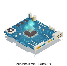 Spectre cpu hardware security vulnerability bug isometric composition with computer motherboard and malicious software symbol vector illustration