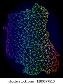 Spectrum colored mesh vector map of Lublin Province isolated on a dark blue background. Abstract lines, triangles forms map of Lublin Province. Carcass model for political illustrations.