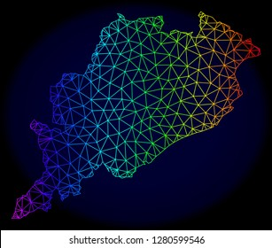 Spectrum colored mesh vector map of Odisha State isolated on a dark blue background. Abstract lines, triangles forms map of Odisha State. Carcass model for political posters.