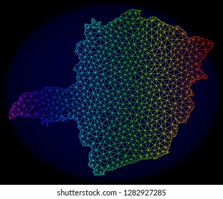 Spectrum colored mesh vector map of Minas Gerais State isolated on a dark blue background. Abstract lines, triangles forms map of Minas Gerais State. Carcass model for political purposes.