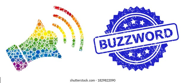Spectrum colored vector megaphone mosaic for LGBT, and Buzzword grunge rosette stamp. Blue stamp has Buzzword tag inside rosette.