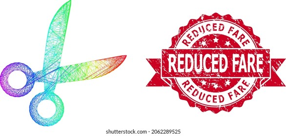 Spectrum colored wire frame scissors, and Reduced Fare rubber ribbon stamp. Red stamp contains Reduced Fare tag inside ribbon.Geometric wire frame 2D net based on scissors icon,