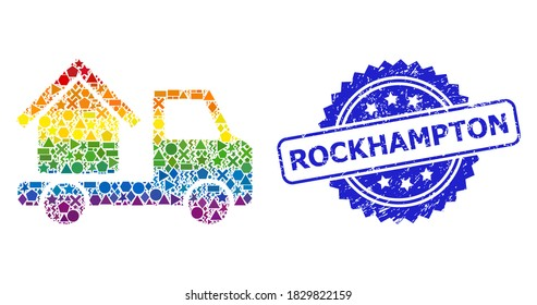 Spectrum colorful vector house trailer mosaic for LGBT, and Rockhampton textured rosette stamp. Blue stamp has Rockhampton tag inside rosette.