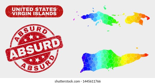 Spectrum dot American Virgin Islands map and rubber prints. Red round Absurd distress seal stamp. Gradient rainbow colored American Virgin Islands map mosaic of randomized circle dots.