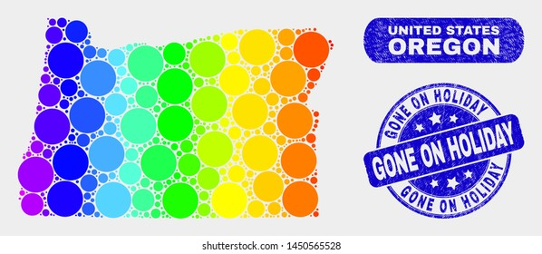 Spectrum dot Oregon State map and seals. Blue round Gone on Holiday distress seal stamp. Gradiented spectrum Oregon State map mosaic of random round spots. Gone on Holiday seal with grunged texture.