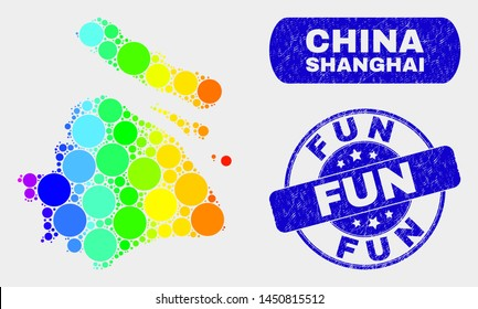Spectrum dot Shanghai City map and seal stamps. Blue round Fun scratched seal stamp. Gradiented rainbow colored Shanghai City map mosaic of randomized round elements.