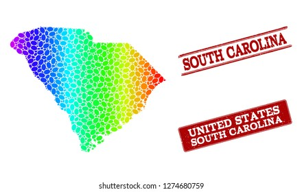 Spectrum dotted map of South Carolina State and red grunge stamps. Vector geographic map in bright spectrum gradient colors on a white background.