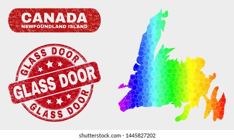 Spectrum dotted Newfoundland Island map and watermarks. Red rounded Glass Door grunge seal stamp. Gradient spectrum Newfoundland Island map mosaic of scattered round elements.