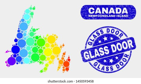 Spectrum dotted Newfoundland Island map and seals. Blue rounded Glass Door grunge seal stamp. Gradiented spectrum Newfoundland Island map mosaic of randomized small spheres.