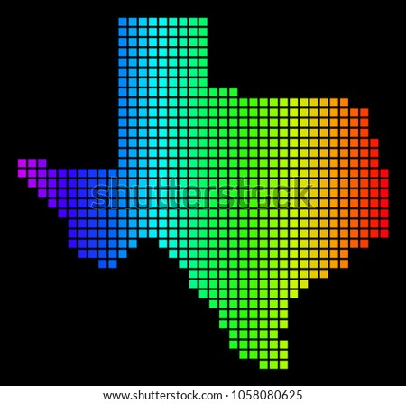 Spectrum Dotted Texas Map Vector Geographic Stock Vector Royalty