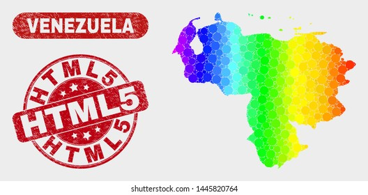Spectrum dotted Venezuela map and seals. Red round Html5 scratched seal. Gradient spectrum Venezuela map mosaic of randomized round dots. Html5 watermark with rubber texture.