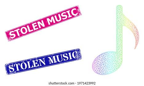 Spectrum gradient mesh music note, and Stolen Music dirty framed rectangle seal prints. Pink and blue rectangle badges have Stolen Music caption. Vector model created from music note icon.
