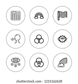 Spectrum icon set. collection of 9 outline spectrum icons with eye, rainbow, rgb, sampler icons. editable icons.