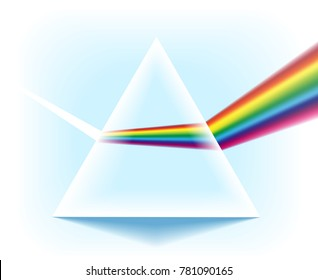 Spectrum prism. Glass triangular pyramid with optical light dispersion effect isolated on white background, vector illustration