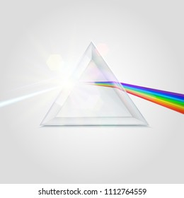 Spectrum prism picture. Transparent optical element, triangular prism dispersing a beam of white light, rainbow wavelengths