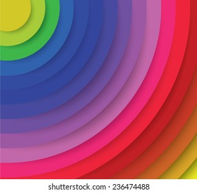 Spectrum radiation, ripple effect, colorful layers of vector art