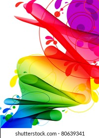 Spectrum Ribbon River - Abstract flowing ribbon in spectrum gradient with circles and swirls isolated on white