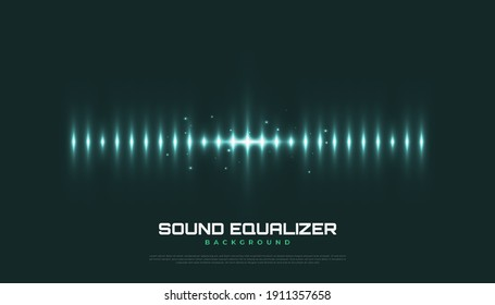 Spectrum Sound Background with Glowing Waves. Equalizer Design for Music, Data, Science and Technology. Music Background Suitable for Cover, Presentation, Banner, or Wallpaper