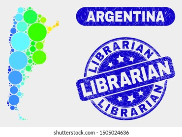 Spectrum spotted Argentina map and stamps. Blue round Librarian grunge stamp. Gradient spectrum Argentina map mosaic of randomized circle. Librarian seal stamp with dirty texture.