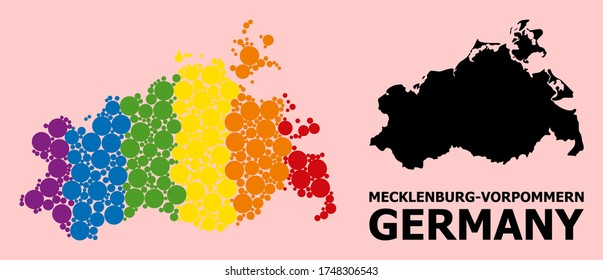 Spectrum vibrant collage vector map of Mecklenburg-Vorpommern State for LGBT, and black version. Geographic concept map of Mecklenburg-Vorpommern State is combined from random circle dots.