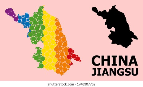 Spectrum vibrant mosaic vector Map of Jiangsu Province for LGBT, and black version. Geographic mosaic Map of Jiangsu Province is combined from scattered circle dots.