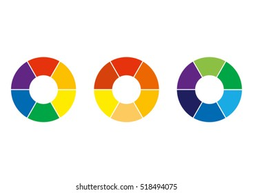 Spectrum wheels with the spectral colors - basic, warm and cold colors