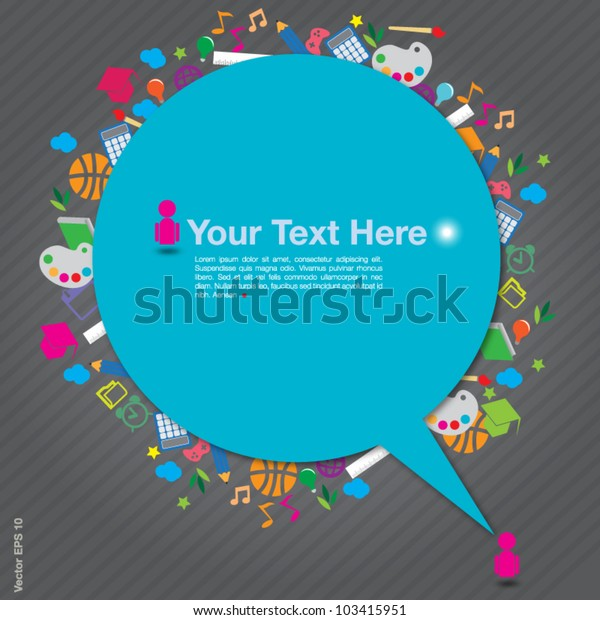 Speech Background Education Icons On Gray Stock Vector ...