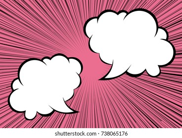 Speech Balloon and radiation, concentration line background (pink)