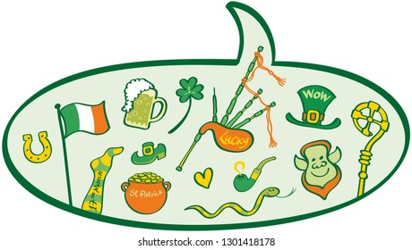 Speech balloon showing traditional elements of Saint Patrick's Day: Leprechaun, mug of beer, pot of gold, snake, clover, horseshoe, Irish flag, sock, shoe, hat, bagpipe, heart, pot of gold and pipe