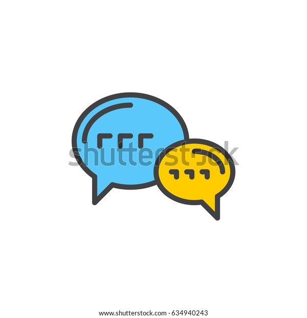 Speech balloons, chat filled outline icon, line vector sign, linear colorful pictogram. Forum symbol, logo illustration. Pixel perfect