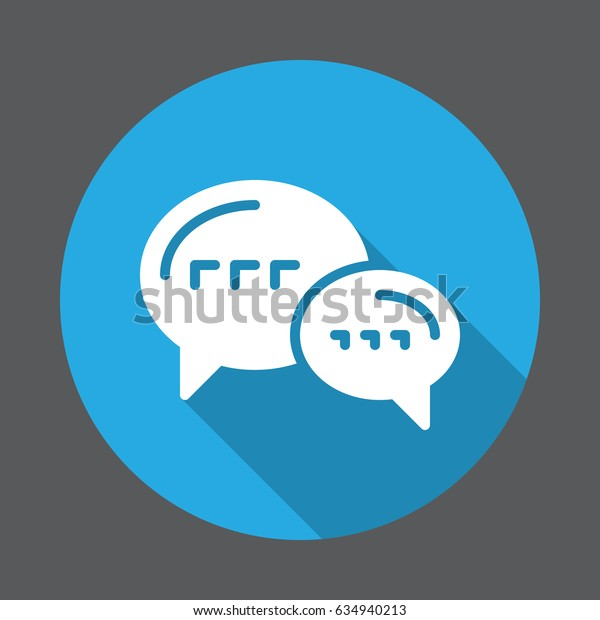 Speech balloons, chat, forum flat icon. Round colorful button, circular vector sign with long shadow effect. Flat style design