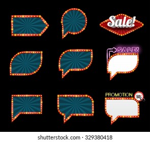 Speech banner signboard set for sale and promotion. Vector illustration. Can use for pop up advertising. web and printing banner vector.