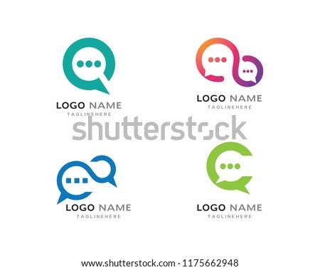 006d6f5ee6c8e8 Speech Buabble Icon Logo Template Vector Stock Vector (Royalty Free ...