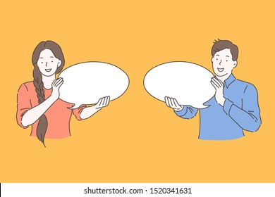 Speech bubble, advertising, communication concept. Young happy smiling man and woman couple, holding thought bubble, are chatting. Guy and girl teenagers promote their ideas. Vector flat design.