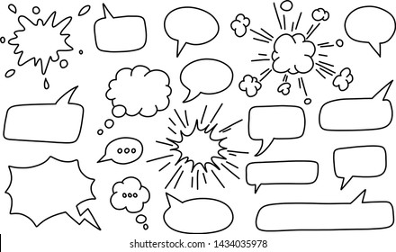 Speech bubble / speech balloon or chat bubble line art vector icon for apps and websites. Dream cloud isolated icon. Modern pictogram. Vector symbol.