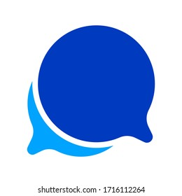 speech bubble blue circle isolated on white, bubble chat sign for icon speak or talk, balloon speech for message copy space text, dialog box chat symbol, speech bubble icon for conversation concept