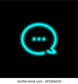 Speech bubble blue glowing neon ui ux icon. Glowing sign logo vector