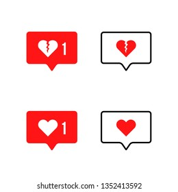speech bubble with broken heart icon. flat simple or stroke style trend modern romance dialog logotype graphic art ui design isolated on white background. concept of bloger influence or divorce