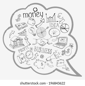 Speech bubble with business and money infographic icons depicting  investment  savings  success  analytics  targets  planning  handshake  security and currencies   vector doodle sketches