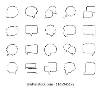 Speech bubble charcoal icon set. Grunge outline web sign kit of comic tell. Chat linear icons includes speak doodle price note, buble quote. Hand drawn simple speech bubble symbol. Vector Illustration