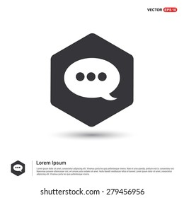 Speech Bubble Chat Icon - abstract logo type icon - hexagon black background. Vector illustration