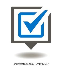 Speech Bubble Check Mark Icon Vector.  Vote Voting Discussion Illustration. Positive Talk Logo. Conversation Symbol. FAQ Services.