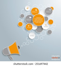 Speech bubble circles with bullhorn on the gray background. Eps 10 vector file.