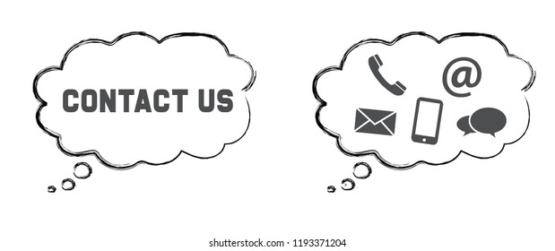 Speech bubble cloud. Vector eps Contact us Call us speech bubble Internet concept Social media symbols network icons icon  email at mobile signs sign fun funny talk Network digital whatsapp talking