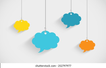 Speech Bubble Clouds Hanging On Strings