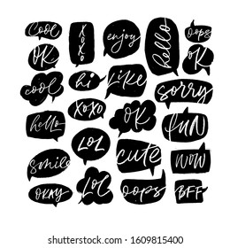 Speech bubble collection with short slang youth words. Vector hand drawn modern brush pen calligraphy. Like, xoxo, fun, hello, WOW, LOL, Ok, sorry, cute, hi, hello, smile, oops, enjoy, okay, BFF, cool